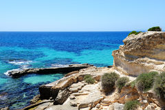 The beach and turquoise water on Mallorca. Island, Spain Stock Photos