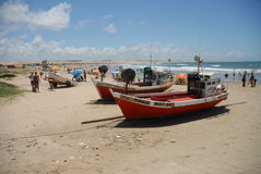 On the beach. Two boats on the beach in Punta del Diablo, Uruguay. Sunny day Stock Images