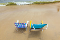 Beach with two chairs Royalty Free Stock Photography