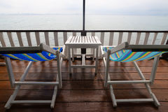 Beach, two deck chairs Royalty Free Stock Photography