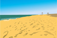 Beach and two fungi. Image of coast of beach and two fungi vector illustration