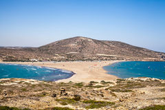 Beach between two seas. Beach between the islands of Rhodes and Prasonisi. Royalty Free Stock Images
