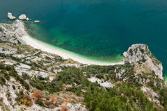 Beach of two sisters, spiaggia delle due sorelle, seen from the Royalty Free Stock Image
