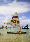 Beach with typical sail boats of northeast Brazil Royalty Free Stock Images