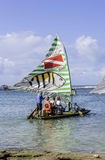 Beach with typical sail boats of northeast Brazil Stock Photos