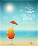 Beach typographic background with cocktail Stock Images