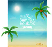 Beach typographic background with palms Stock Photo