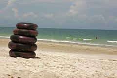 Beach tyres. Tyres on Thai beach royalty free stock photography