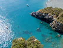 Beach and Tyrrhenian Sea, coves and promontories overlooking the sea. Italy. Aerial view, San Nicola Arcella, Calabria coastline Stock Photography