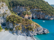 Beach and Tyrrhenian Sea, coves and promontories overlooking the sea. Italy. Aerial view, San Nicola Arcella, Calabria coastline Stock Image