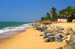 Beach of Ullal. Village with big stones near Mangalore, Karnataka, India Stock Photography