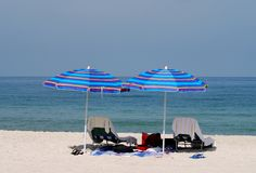 Beach umbreallas. Relaxing on the Florida Beach Royalty Free Stock Photography