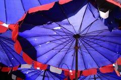 Beach umbrella. Close up bottom view of an old torn beach umbrella Royalty Free Stock Image