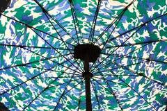 Beach umbrella. Close up bottom view of a colorful beach umbrella Royalty Free Stock Photography