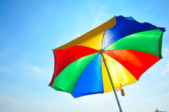 Beach umbrella. Colorful beach umbrella in a summer day in the beach Stock Photography