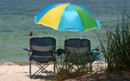 Beach Umbrella. Keeping cool at the beach Royalty Free Stock Image