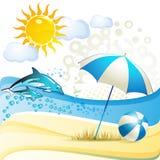 Beach with umbrella Stock Photography