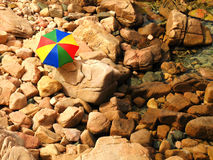 Beach umbrella. A colorful beach umbrella on a beach in Sardinia (Italy stock images