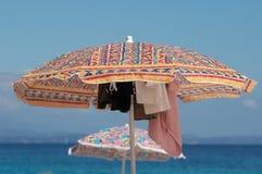 Beach umbrella. S over blue sky in an beach with wonderful sea Stock Photography