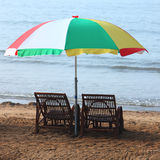 Beach and umbrella Royalty Free Stock Photo