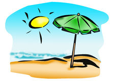 Beach with umbrella Stock Image