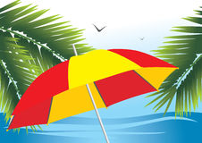 Beach Umbrella Among The Branches Of Palm Royalty Free Stock Images