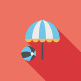 Beach umbrella with ball flat icon with long shadow. Cartoon vector illustration stock illustration