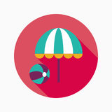 Beach umbrella with ball flat icon with long shadow. Vector illustration file stock illustration