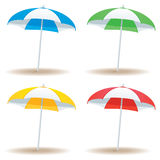 Beach umbrella basic. A selection of beach umbrellas in basic colors  on white Stock Image