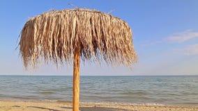 Beach umbrella. On beautiful beach stock footage