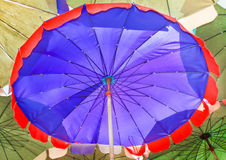 Beach umbrella big, blue red border. Royalty Free Stock Photo