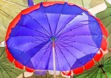 Beach umbrella big, blue red border. Royalty Free Stock Photo