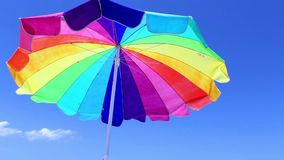 Beach Umbrella With Bird stock video footage