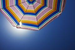 Beach umbrella. Bottom view of an sunshade Royalty Free Stock Photos