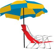 Beach umbrella and chair. Illustration of a blue and yellow beach umbrella with a portable red lounge chair underneath.  Isolated on a white background Royalty Free Stock Photography