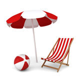 Beach umbrella, chair and ball. Summer vacation concept. 3d illustration on white background Stock Photos