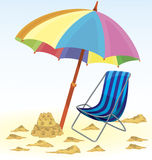 Beach umbrella chair sand castle Royalty Free Stock Photography