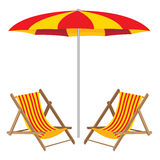 Beach umbrella with chair. Wooden Furniture and beach umbrella. Royalty Free Stock Photography