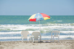 Beach umbrella and chairs Royalty Free Stock Photos
