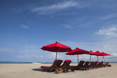 Beach Umbrella Chairs In Paradise Island Stock Photos