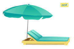 Beach umbrella and chaise Stock Photography