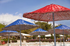 Beach umbrella closeup view Royalty Free Stock Photo