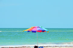 Beach with umbrella in florida Royalty Free Stock Images