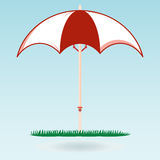Beach umbrella on the green grass. The symbol of the holiday. Travel. Journey to the sea vector illustration
