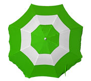 Beach umbrella with green and white stripes. Opened beach umbrella with green and white stripes isolated on white. Top view. Clipping path included Stock Photos