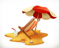 Beach umbrella and lounge chair, vector icon Royalty Free Stock Photography