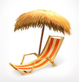 Beach umbrella and lounge chair Royalty Free Stock Images