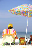 Beach Umbrella Man Royalty Free Stock Photography