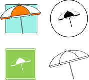 Beach umbrella mixed set. Mixed set with an icon, sign, color and black and white illustrations of a beach umbrella Stock Photos