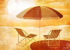 Beach umbrella retro Stock Photography